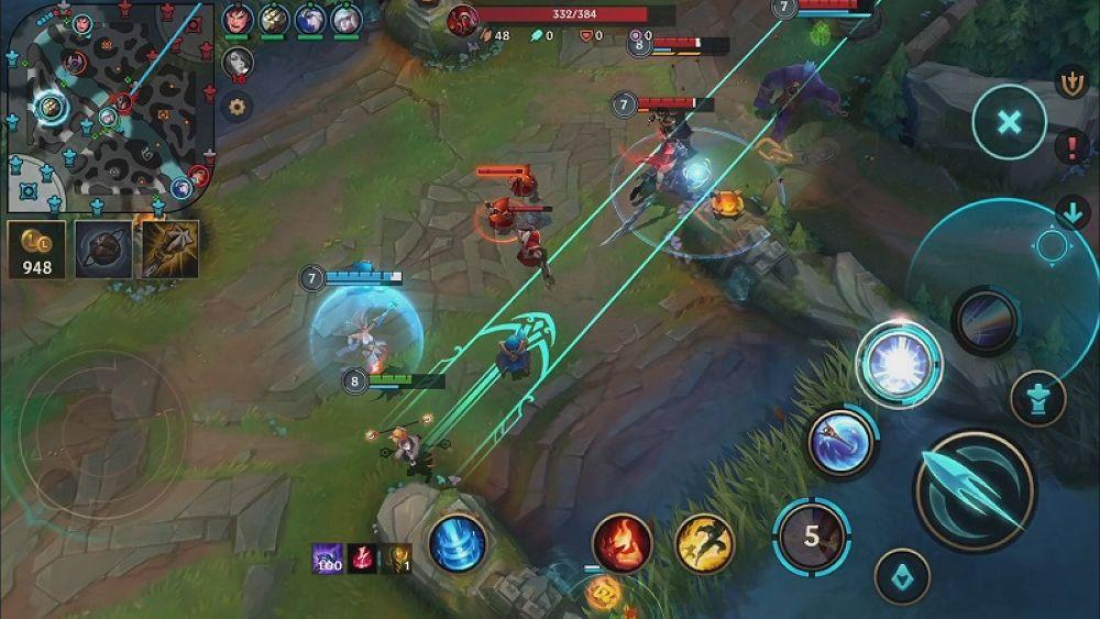 เกมLeague of Legends Wildrift การที่ผู้เล่นสามารถใช้แผนที่เล็กในหน้าจอ
